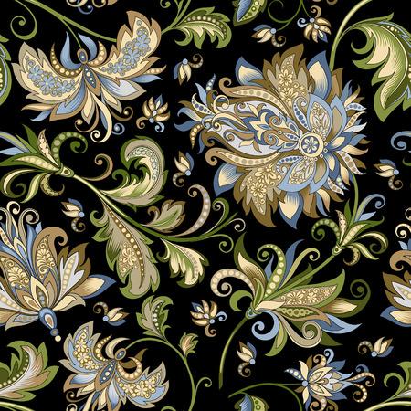 ornement vintage avec des fleurs décoratives sur fond noir