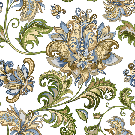 Vintage Ornament mit dekorativen Blumen auf weißem Hintergrund