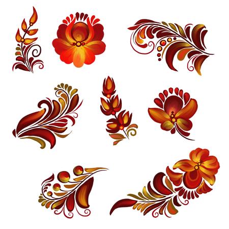 Set of elements of folk painting