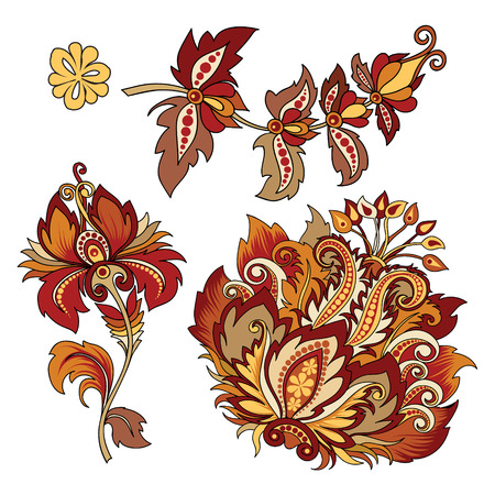 vector clipart set of decorative flowers with leaves in oriental style on white background, beautiful vintage colored illustration of red flowers for design