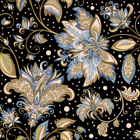 vintage pattern with decorative flowers on a black background