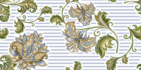 seamless vintage pattern with  decorative gold  flowers