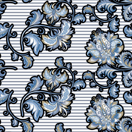 seamless vintage pattern with  decorative blue flowers 矢量图像