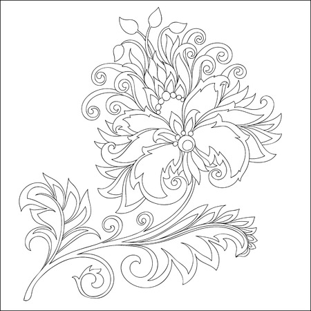 vector contour of fantasy flower with ornaments