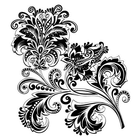 black and white ethnic flower with pattern