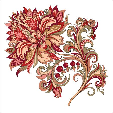 decorative vintage golden and red flower with patterns