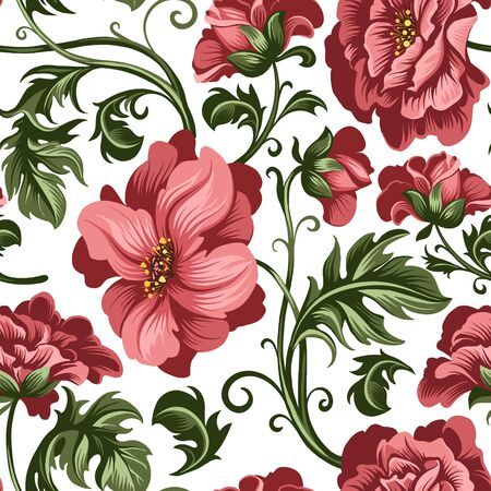 seamless pattern of decorative red peony and rose flowers Vector Illustratie