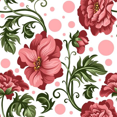 seamless pattern of decorative red peony and rose flowers 矢量图像