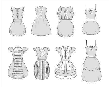 dress sketch: Illustrations of dresses