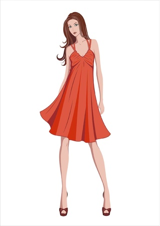 Illustration of stylized girl wearing red dress