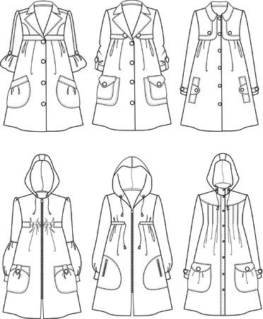 Illustrations of raincoats