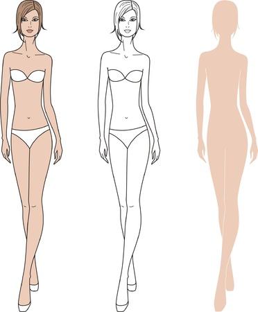 women  s fashion: illustration of women s fashion figure  Three options