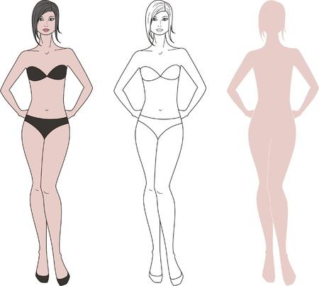 Vector illustration of women s figure  Three options