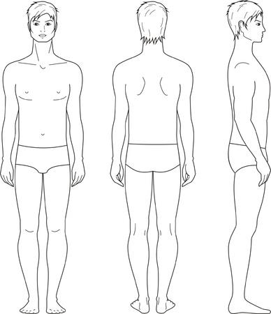 illustration of men s figure  Front, back, side views