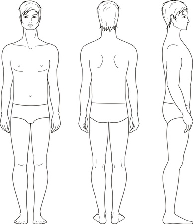 personas banandose: ilustraci�n de los hombres s de la figura frontal, posterior, vistas laterales
