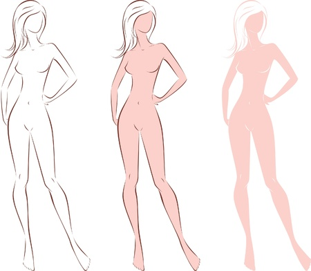women  s fashion:  illustration of women s fashion silhouette  Three options