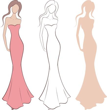 women  s fashion:  illustration of women s fashion silhouette in dress  Three options