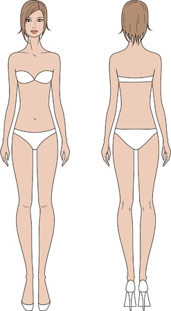 young girl underwear: illustration of women s fashion figure  Front and back views Illustration