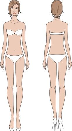 espalda: la ilustraci�n de las mujeres s de la moda figura de Front y vistas de vuelta Vectores