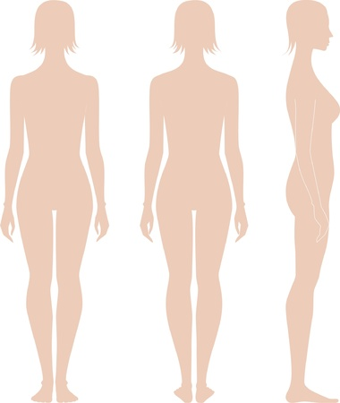 illustration of women s figure  Silhouettes  Front, back, side views Vector