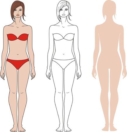 woman back of head: illustrazione di donne s cifra Tre opzioni
