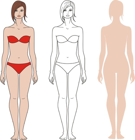 ni�as ba�andose: ilustraci�n de la mujer s figura Tres opciones Vectores