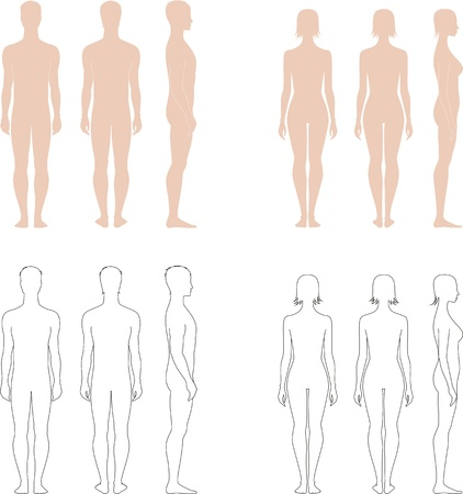 Vector illustration of men s and women s figures  Front, back, side views  Silhouettes