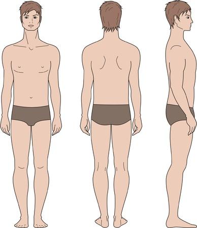 Vector illustratie van de mannen s figuur Voorkant, achterkant, zijkant uitzicht Stock Illustratie