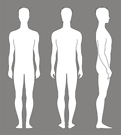 Vector illustratie van de mannen s figuur Voorkant, achterkant, zijkant uitzicht Silhouettes Stock Illustratie