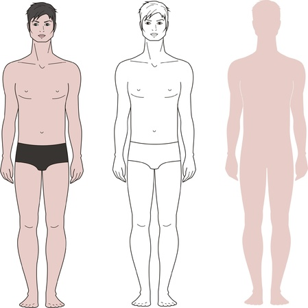 Vector illustration of men s figure  Three options  Front view Vector
