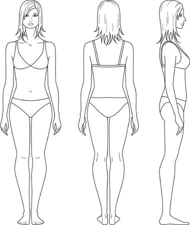 Vector illustration of woman's figure Vettoriali