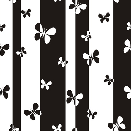 black and white image: Vector illustration of abstract black-and-white seamless pattern with butterflies