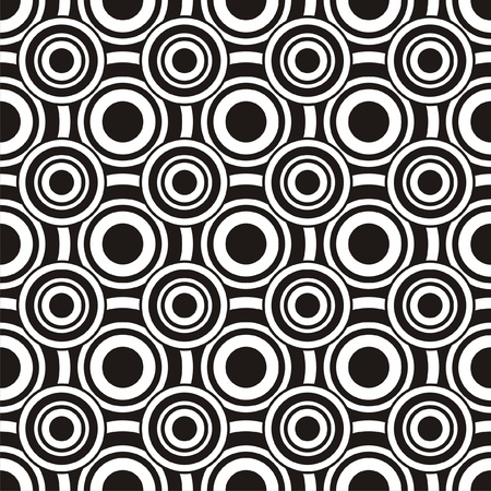 Vector illustration of seamless abstract black-and-white pattern with circles Vector