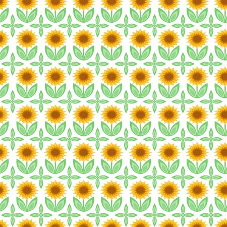Vector illustration of seamless pattern with sunflowers Vector