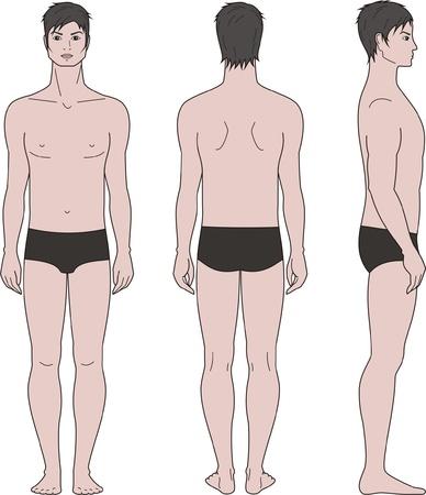 Vector illustratie van de mannen s figuur Voorkant, achterkant, zijaanzicht Stock Illustratie