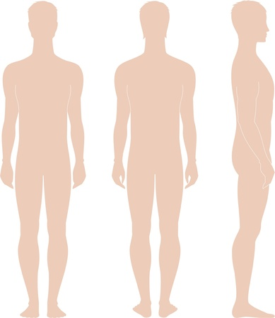 Vector illustration of men s figure  Front, back, side views  Silhouettes Vector