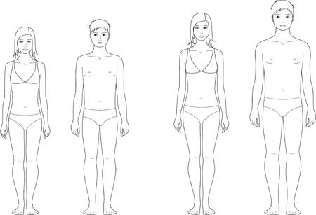 Vector illustratie van de tiener s figuur Verandering in proporties 12 en 15 jaar