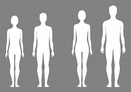 bocetos de personas: Ilustraci�n vectorial de adolescente s cifra Cambio en proporciones de 12 y 15 a�os Siluetas