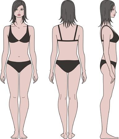 Vector illustratie van vrouwen s figuur voor, achter, zij-aanzichten