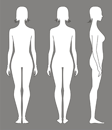 naked female body: Vector illustration of women s figure  Front, back, side views  Silhouettes