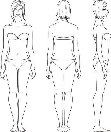 illustration of women s figure  Front, back, side views Ilustração