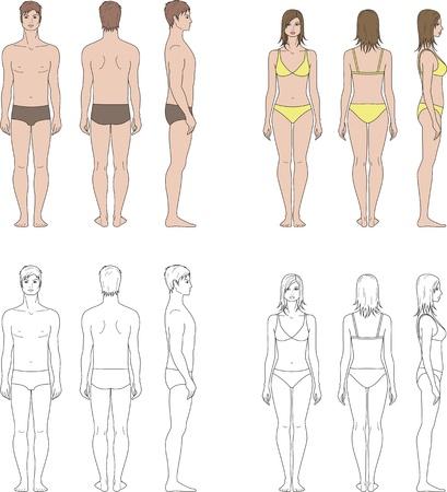 Vector illustratie van de menselijke s figuur Man, vrouw Voorkant, achterkant, zijkant uitzicht