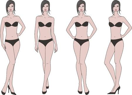 Vector illustration of women s figure  Four options Vettoriali