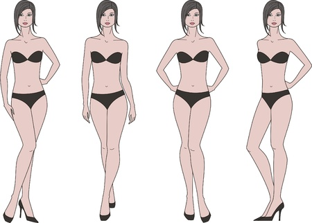 Vector illustration of women s figure  Four options Ilustrace