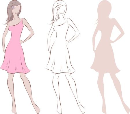 Vector illustration of women s silhouette  Three options Vector