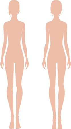 naked female body: Vector illustration of women s fashion figure  Front and back views  Silhouettes Illustration