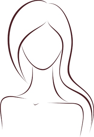 vogue style: Vector illustration of women s silhouette with long hair