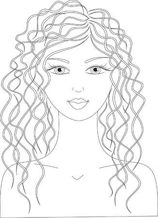 Vector illustration of a woman with long curly hair Illustration