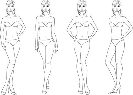 Vector illustration of women figure  Four options Vettoriali