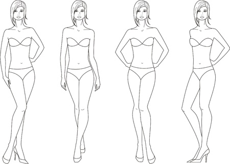 Vector illustration of women figure  Four options Ilustrace